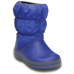CROCS KIDS WINTER PUFF BOOT J2 33-34/Cerulean Blue/Light Grey