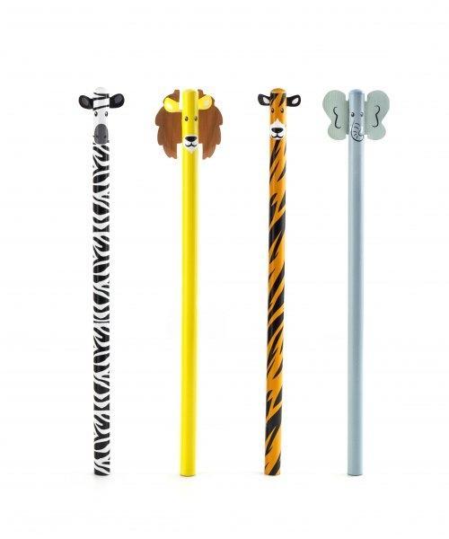 Set dřevěných tužek - safari zvířátka